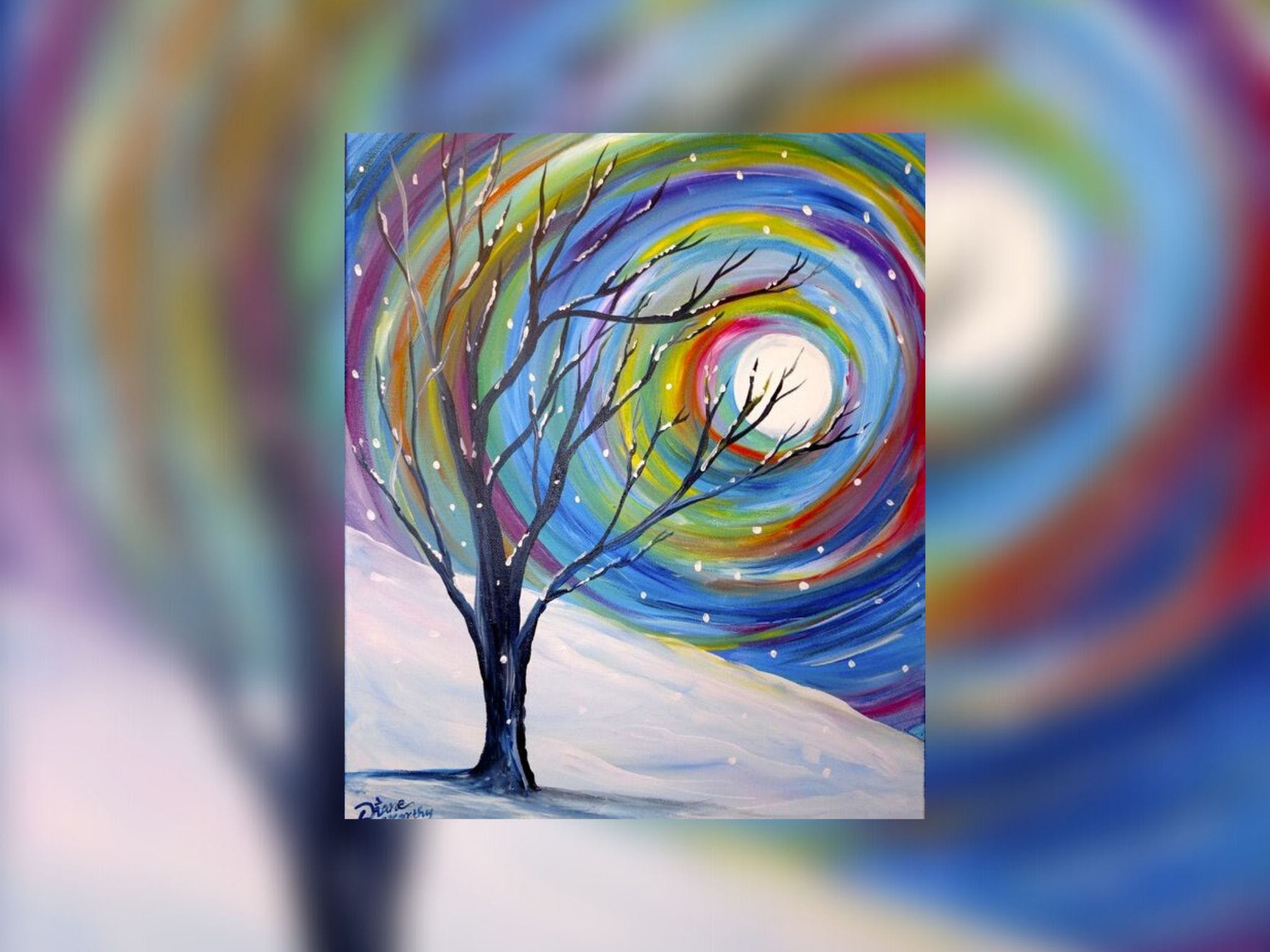 Grab a glass of wine and learn to paint 'Rainbow Snow' - Accommodation Melbourne